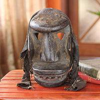 Ivoirian wood mask, 'Woman's War Spirit' - Fair Trade Ivoirian Wood Mask
