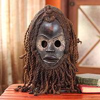 Liberian wood mask, 'Night Hunter Spirit' - Unique Liberian Fair Trade Mask
