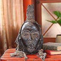 Ivoirian wood mask, 'Protecting the Unborn' - Unique African Wood Mask