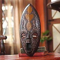 African mask, 'Good News' - West African Sese Wood Akan Mask