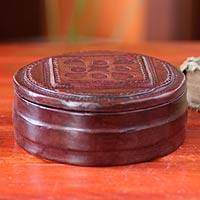 Leather jewelry box, 'Love Treasures' - Leather jewelry box
