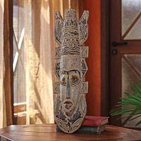 African wood mask, 'Odo' - Hand Made Wood Mask