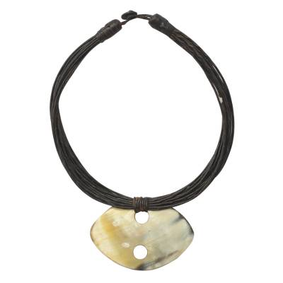 Horn and leather necklace, 'Kibsa' - Leather and Horn Pendant Necklace