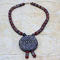 Ceramic pendant necklace, 'Naapoka' - Hand Crafted Ceramic Beaded Necklace