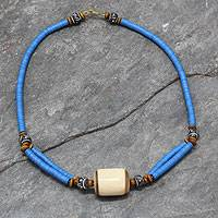 Bone and ceramic beaded necklace, 'Laafi' - Eco-Friendly Bead and Bone Necklace from Ghana