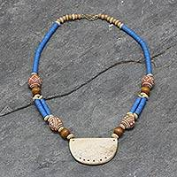 Bone and ceramic beaded necklace, 'Pogsada' - Recycled Plastic Beaded Necklace from Africa