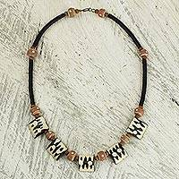 Bone and ceramic beaded necklace, 'Amaria' - Handcrafted Bone and Recycled Bead Necklace