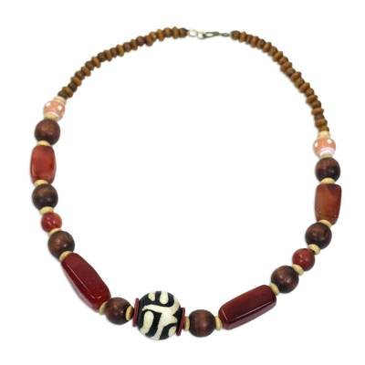 Agate and bone beaded necklace, 'Maneray' - Handcrafted Beaded Agate and Bone Necklace from Africa