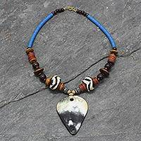 Horn and ceramic pendant necklace, 'Yabpoka' - Bull Horn Pendant Necklace from Africa
