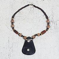 Horn and agate pendant necklace, 'Gamba' - African Ceramic and Agate Pendant Necklace