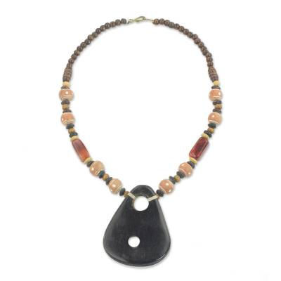 African Ceramic and Agate Pendant Necklace