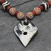 Horn and ceramic pendant necklace, 'Pogyanga' - Horn and Ceramic Beaded Necklace