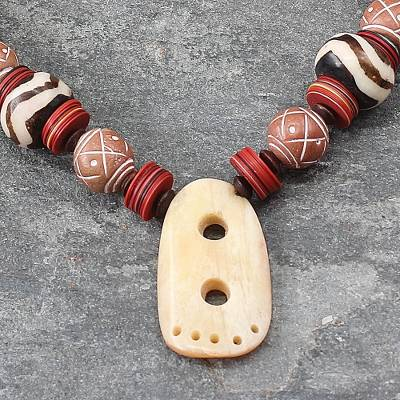 Wood and ceramic pendant necklace, 'African Goddess' - Handmade Ceramic Pendant Necklace