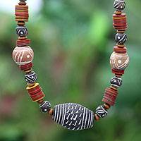 Ceramic and wood beaded necklace, 'Tempoka' - Fair Trade Ceramic Beaded Necklace