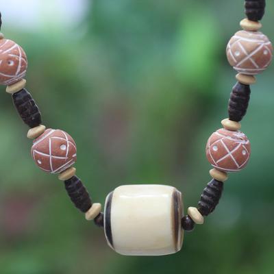 Bone and ceramic beaded necklace, 'Sougri' - Bone and ceramic beaded necklace