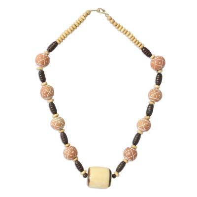 Bone and ceramic beaded necklace