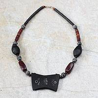 Agate and ebony pendant necklace, 'Market Day' - Wood and Agate Pendant Necklace