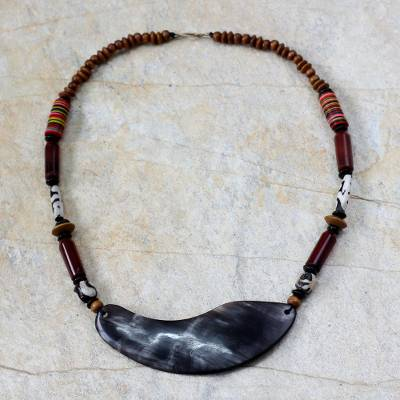 Agate and wood pendant necklace, 'Bountiful Harvest' - Artisan Crafted Horn and Wood Pendant Necklace