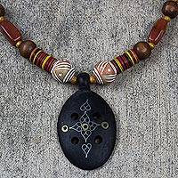 Agate and ebony pendant necklace, 'Mossi Womanhood' - Handcrafted African Wood and Agate Necklace