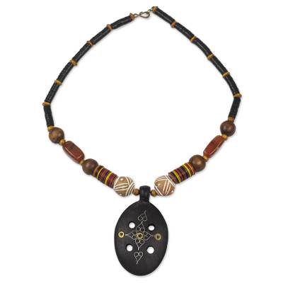 Handcrafted African Wood and Agate Necklace