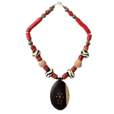 Ebony and ceramic pendant necklace, 'All Things New' - Ebony and ceramic pendant necklace