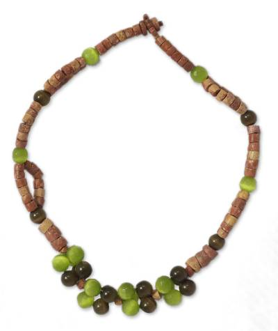 Bauxite and cat's eye beaded necklace, 'Woman's Wisdom' - Bauxite and Cat's Eye Beaded Necklace