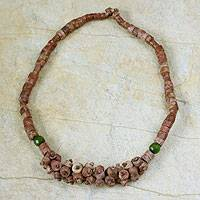 Bauxite and cat's eye beaded necklace, 'Love's Embrace' - Bauxite and cat's eye beaded necklace