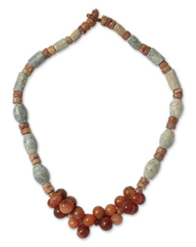 Agate and soapstone beaded necklace, 'Linked Together' - Agate and soapstone beaded necklace