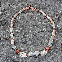 Soapstone and agate beaded necklace, 'Sankofa' - Soapstone and agate beaded necklace