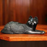 Wood figurine, 'Asevi' - African Wood Cat Figurine