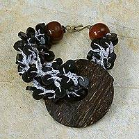 Coconut shell and bull horn beaded bracelet, 'Zebra' - Coconut shell and bull horn beaded bracelet