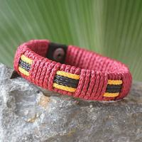 Men's wristband bracelet, 'Spirit of Africa' - Men's Wristband Bracelet from Africa