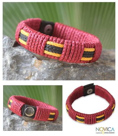 Men's wristband bracelet, 'Spirit of Africa' - Unique Men's Modern Wristband Bracelet with Cord Over Recycl