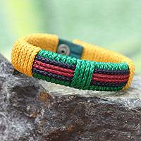 Men's wristband bracelet, 'Colors of Africa' - Men's Wristband Bracelet from Africa