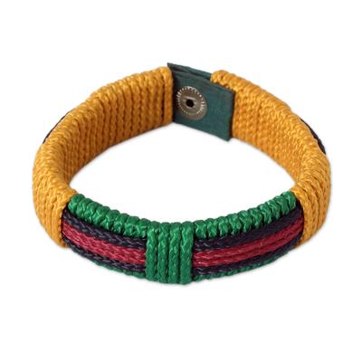 Men's wristband bracelet, 'Colors of Africa' - Men's Wristband Bracelet from Africa