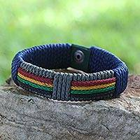 Men's wristband bracelet, 'Traditions of Africa' - Handcrafted Men's Wristband Bracelet