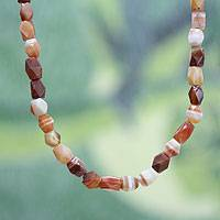 Agate beaded necklace, 'Lady of Kumasi' - Agate beaded necklace