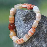 Agate beaded bracelet, 'Lady of Kumasi' - Agate Beaded Bracelet