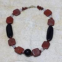 Jasper and onyx beaded necklace, 'Radiant Warmth' - Jasper and Onyx Beaded Necklace from Ghana