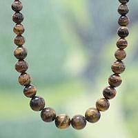Tiger's eye beaded necklace, 'Golden Light' - Tiger's eye beaded necklace