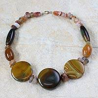 Agate beaded necklace, 'Savior's Light' - Agate beaded necklace
