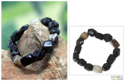 Agate beaded bracelet, 'Akan Delight' - Hand Crafted Beaded Agate Bracelet