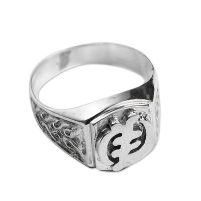 Men's sterling silver signet ring, 'God is Supreme' - Men's Fair Trade Sterling Silver Signet Ring from Africa