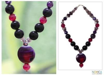 Quartz and chalcedony beaded necklace, 'Love Honors' - Quartz and Chalcedony Beaded Necklace