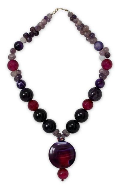 Quartz and Chalcedony Beaded Necklace