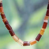 Agate long beaded necklace, 'Accra Warmth' - Agate long beaded necklace