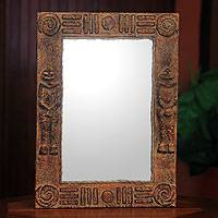 Wall mirror, 'African Twins' - Handcrafted Rustic African Wall Mirror
