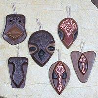 Wood ornaments, 'Yam Masks' (set of 6) - Wood ornaments (Set of 6)