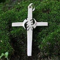 Sterling silver cross pendant, 'God is Supreme' - Sterling Silver Cross Pendant from Ghana