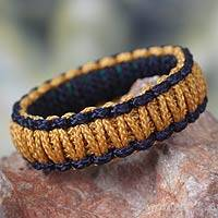 Bangle bracelet, 'Queen Amina in Gold and Navy' - Hand Made Bangle Bracelet